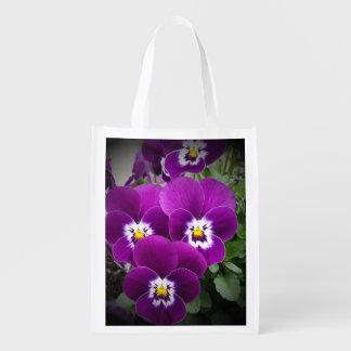 Purple Pansies Peaceful Reusable Grocery Bag