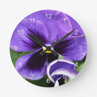 purple pansies round clock