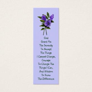 Purple Pansies, Serenity Prayer Mini Business Card