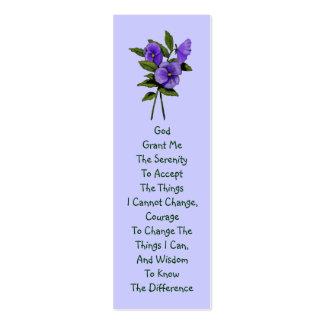 Purple Pansies, Serenity Prayer Pack Of Skinny Business Cards
