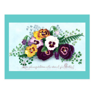 Purple Pansies Victorian Birthday Postcard