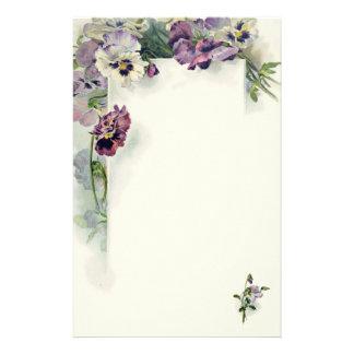 Purple pansies vintage stationery