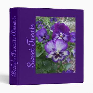 Purple Pansies Vinyl Binder