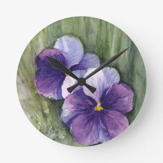 Purple Pansies Viola Watercolor Round Clock