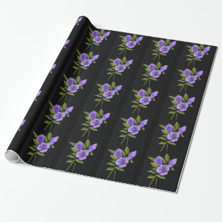 Purple Pansies, Violas: Color Pencil on Black: Art Wrapping Paper