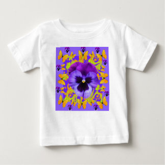 PURPLE PANSIES YELLOW BUTTERFLIES ABSTRACT FLORAL BABY T-Shirt