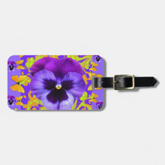 PURPLE PANSIES YELLOW BUTTERFLIES ABSTRACT FLORAL LUGGAGE TAG
