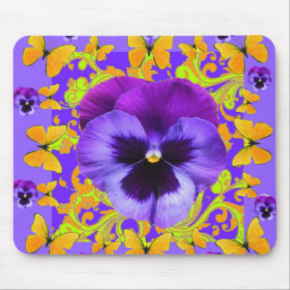 PURPLE PANSIES YELLOW BUTTERFLIES ABSTRACT FLORAL MOUSE PAD