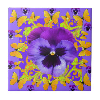 PURPLE PANSIES YELLOW BUTTERFLIES ABSTRACT FLORAL TILE