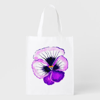 Purple Pansy accent Cream Reusable Grocery Bag