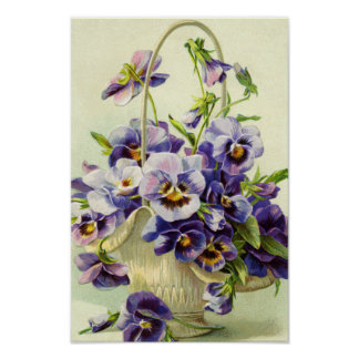 Purple Pansy Basket of Flowers Print