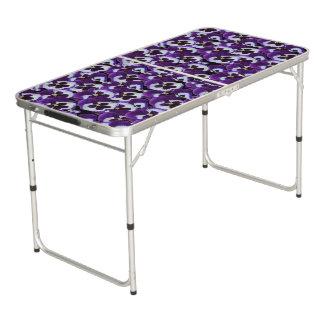 Purple Pansy Bouquet, Aluminum Folding Table