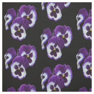 Purple Pansy Bouquet, Cotton Material Fabric