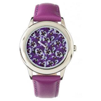 Purple Pansy Bouquet, Girls Purple Leather Watch. Watch