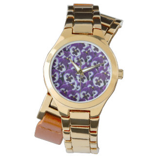 Purple Pansy Bouquet, Ladies Gold Wrap Watch. Watch