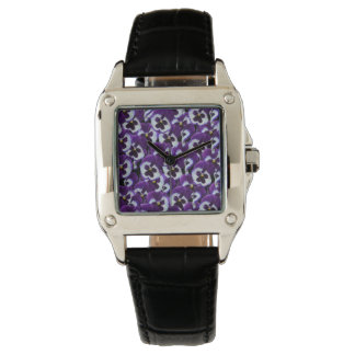 Purple Pansy Bouquet, Ladies Square Leather Watch. Watch