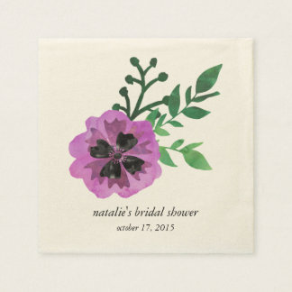 Purple Pansy Bridal Shower Napkins Paper Napkin