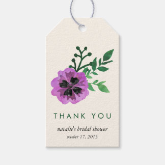 Purple Pansy Bridal Shower Thank You Favor Tags Pack Of Gift Tags