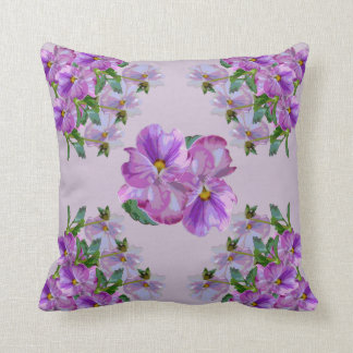 Purple Pansy Clusters Throw Pillow