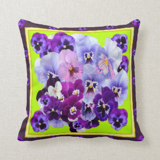 PURPLE PANSY COLLECTION LIME ART THROW PILLOW
