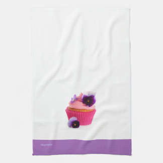 Purple Pansy Cupcake Kitchen Towel