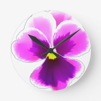 Purple Pansy Flower 201711 Round Clock