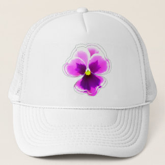 Purple Pansy Flower on Editable Trucker Hat