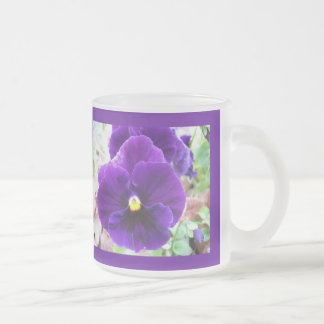 Purple Pansy Frosted Glass Coffee Mug