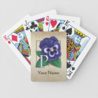 Purple Pansy Personalized Floral Monogram Bicycle Playing Cards