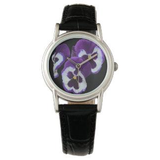 Purple Pansy Posy, Ladies Black Leather Watch. Watch
