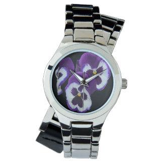 Purple Pansy Posy, Ladies Silver Wrap Watch. Watch