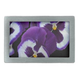 Purple_Pansy_Posy,_ Rectangular Belt Buckle