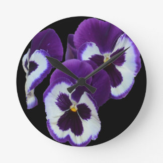 Purple_Pansy_Posy,_ Round Clock