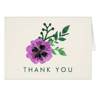Purple Pansy Thank You Cards