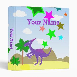 Purple Parasaurolophus Dinosaur Cartoon Binder