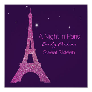 Purple Paris Themed Sweet Sixteen Invitation