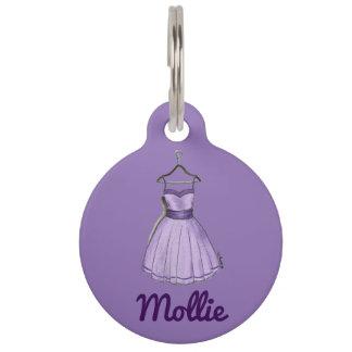 Purple Party Dress Fashion Fashionista Dog Tag Pet Nametag