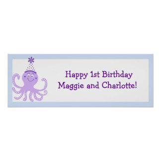 Purple Party Octopus Birthday Banner Customized Poster