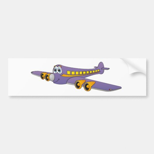 Purple Passenger Jet Cartoon Bumper Sticker