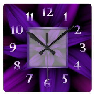 Purple Passion Floral Geometric Square Wall Clock