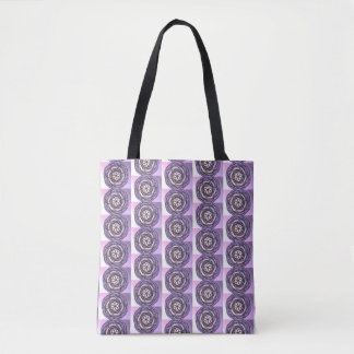 Purple Passion Flower Pattern Tote Bag