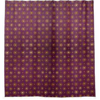 Purple Passion Golden Starbursts Shower Curtain