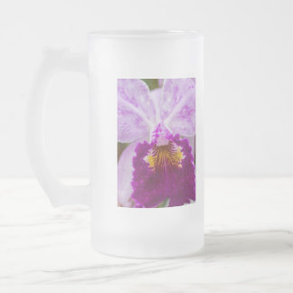 Purple Passion Orchid Frosted Glass Beer Mug