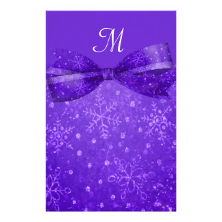 Purple Passion & Shimmer Snowflakes Wedding Custom Stationery