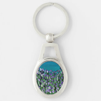 Purple Passion Silver-Colored Oval Keychain