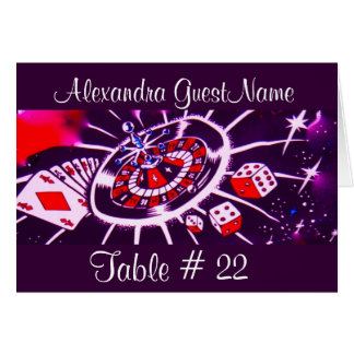 Purple Passion Table Number and Guest Name Note Card