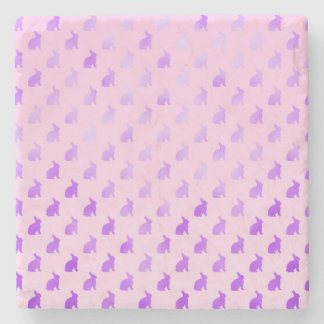 Purple Pastel Bunny Background Faux Foil Stone Coaster