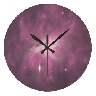Purple Pastel Galaxy Wall Clock