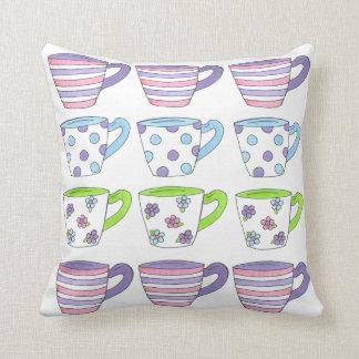 Purple Pastel Tea Cup Cups Teacups Party Pillow
