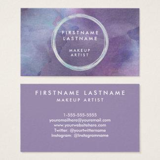 Purple Pastels Watercolor Salon and Makeup Artist Business Card